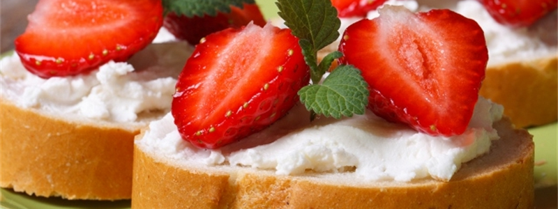 Toasted Baguette With Cream Cheese, Garden Fresh Strawberries and Garden Fresh Mint